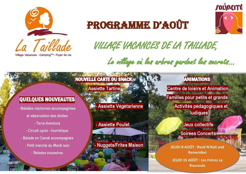 Le Programme d'Août du Village Vacances La Taillade