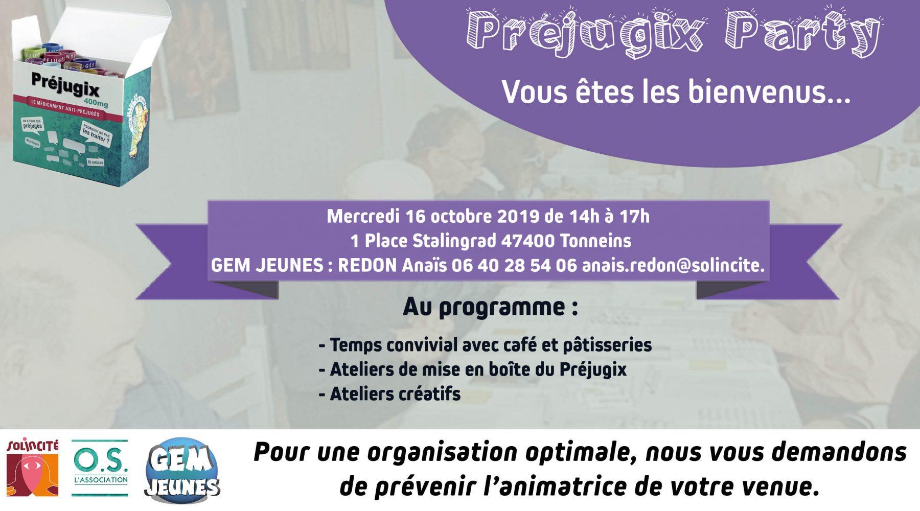PREJUGIX PARTY – 16 Octobre 2019