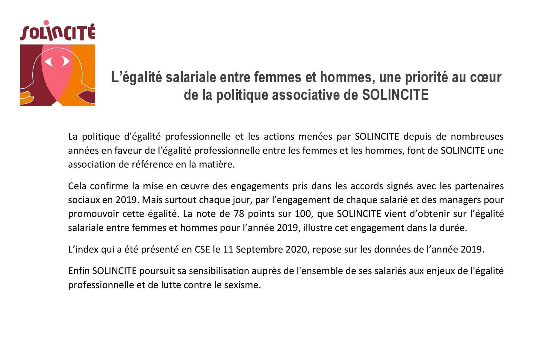 L'égalité salariale entre femmes et hommes, une priorité au coeur de la politique associative de SOLINCITE !